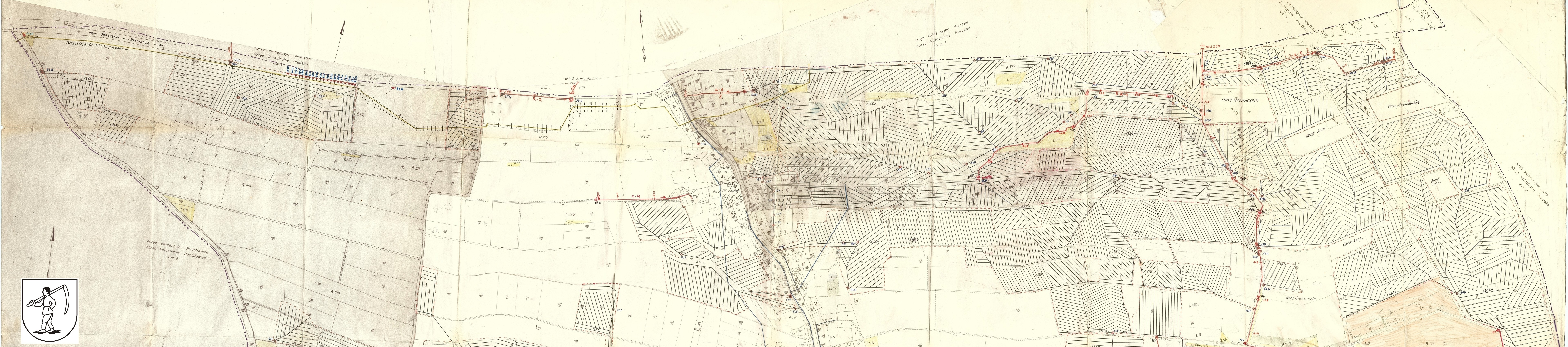 sołectwo Grzawa, mapa drenarki grzawaz 1