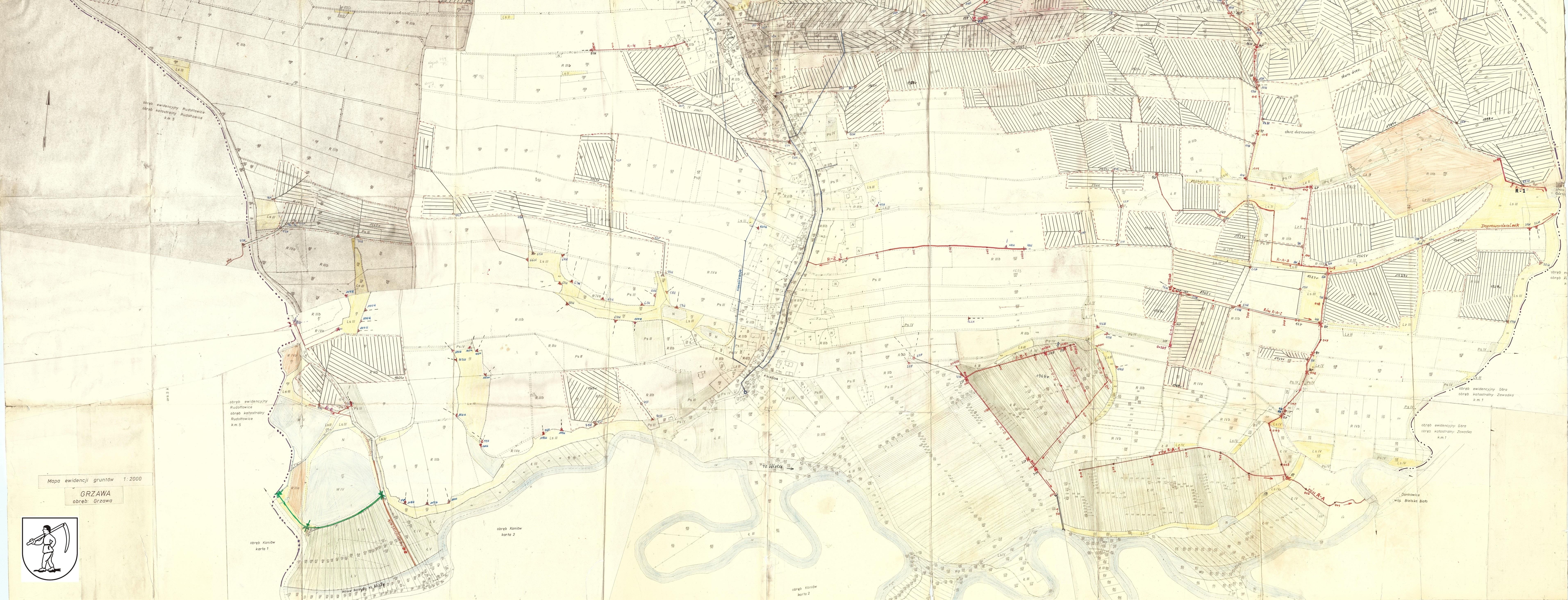 sołectwo Grzawa, mapa drenarki grzawa 2